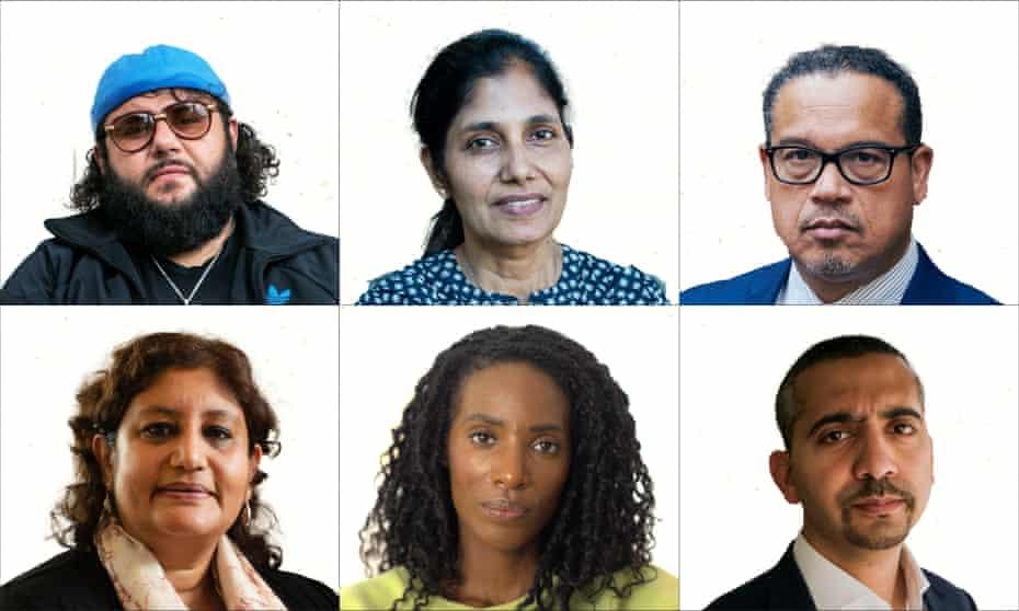 Clockwise from top left: Mo Amer, Sabiha Hussain, Keith Ellison, Mehdi Hasan, Zainab Johnson and Kausam Salam.