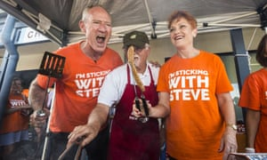 Pauline Hanson and Queensland One Nation leader Steve Dickson at a barbecue in his Buderim electorate.