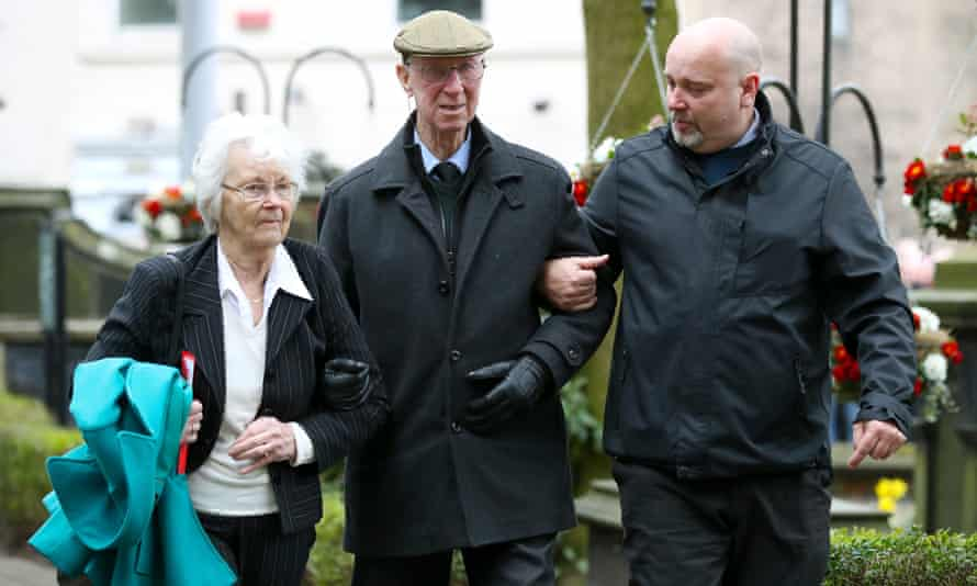 Jack Charlton (centre) and wife Pat Kemp arrive for the funeral service for Gordon Banks at Stoke Minster in March 2018.