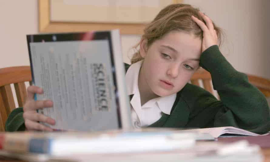 Girl doing science homework
