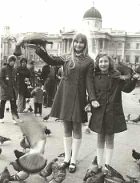 Celia and Kate Paul, Trafalgar Square, around 1972