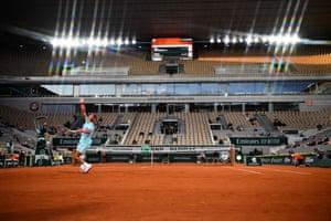 Spain's Rafael Nadal serves to Belarus' Egor Gerasimov.