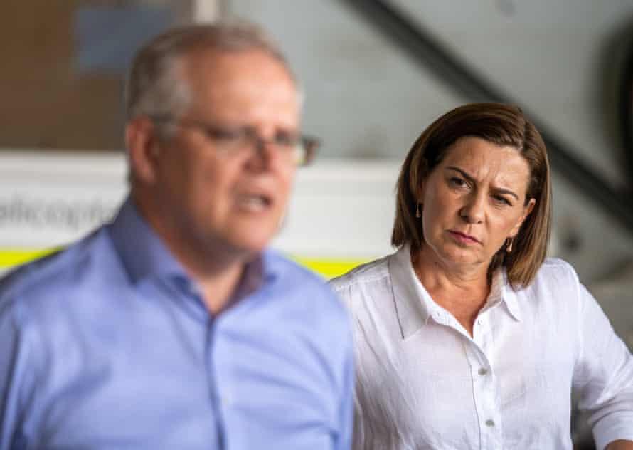 The LNP leader, Deb Frecklington, and the prime minister, Scott Morrison