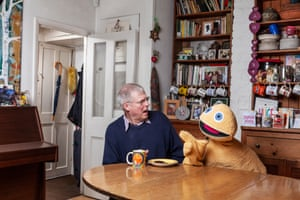 Ronnie Le Drew who has played Zippy from Rainbow since 1973, photographed at his home.