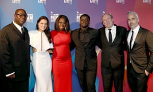 Steve McQueen, Michelle Rodriguez, Viola Davis, Daniel Kaluuya, Hans Zimmer and Iain Canning at the premiere of Widows during the London film festival.
