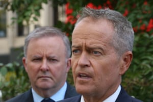 Bill Shorten and shadow infrastructure and transport minister Anthony Albanese at a press event on 1 April 2019.