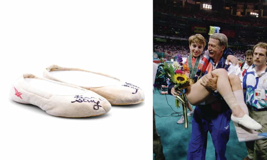 Kerri Strug at the 1996 Olympics and her Asics Gym Ultras.