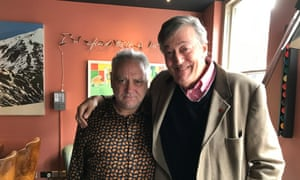 Slattery with Stephen Fry filming his documentary.