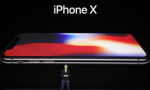 Apple CEO Tim Cook announces the new iPhone X.