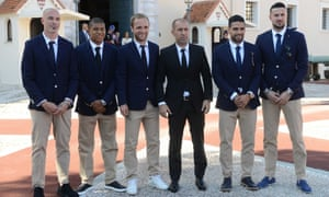 From left to right: Andrea Raggi, Kylian Mbappe, Valere Germain, Leonardo Jardim, Radamel Falcao and Danijel Subasic pose in front of the Prince's Palace in Monaco after winning the league.