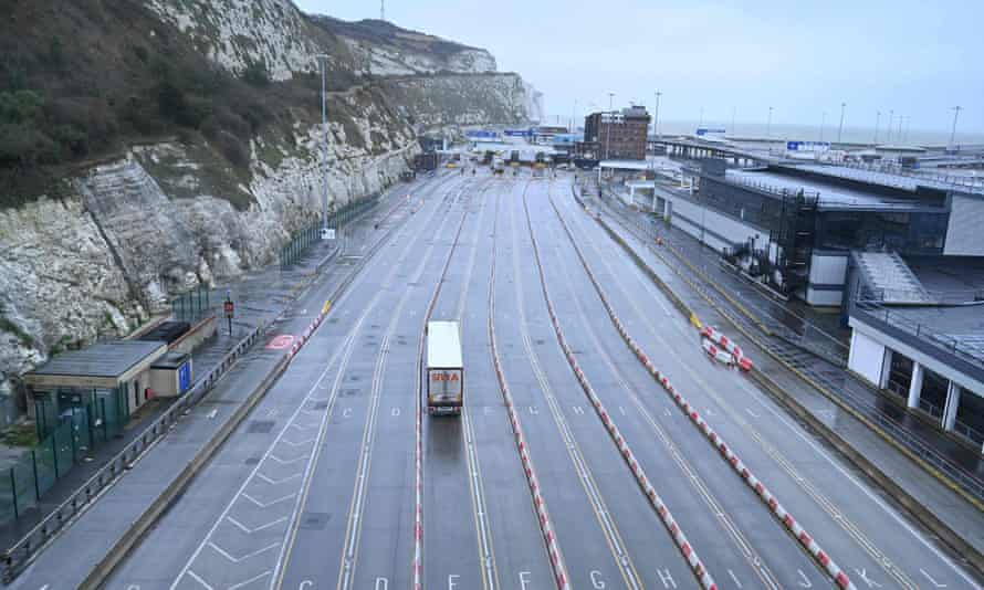 A lorry arrives at the near-empty Port of Dover on 4 January.