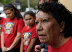 Leetona Dungay, the mother of David Dungay, calls for justice outside the NSW coroners court in Sydney.