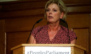Anna Soubry, leader of The Independent Group for Change party, speaks during an event about opposing the suspension of parliament to prevent no-deal Brexit in London on 27 August.