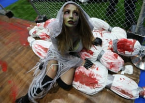 Dubai, United Arab EmiratesA guest dressed as a zombie attends the Middle East Film & Comic Con (MEFCC).
