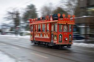 Christmas tram in motion in Zurich, Switzerland