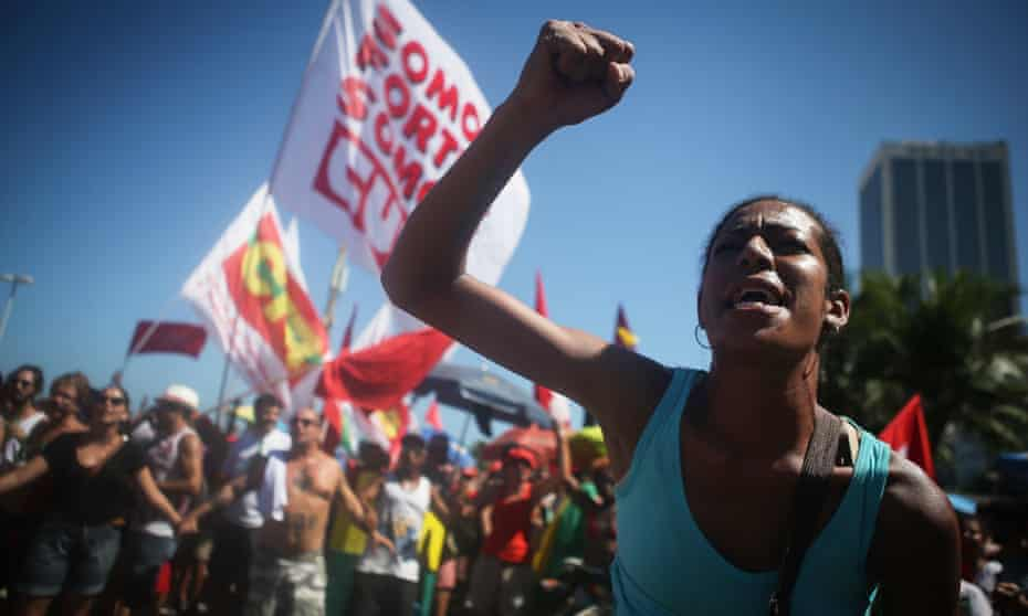 Supporters of Dilma Rousseff march during an anti-impeachment protest in Rio de Janeiro.