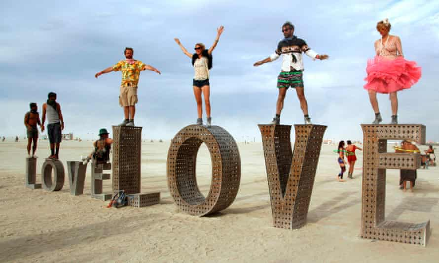 Revellers at 2014's Burning Man festival in Nevada, where Emily Witt has sex with a stranger in the orgy tent.