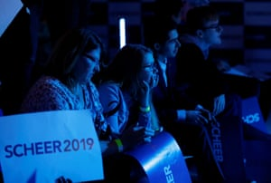 Supporters of Scheer watch the election results come in at his campaign headquarters in Regina