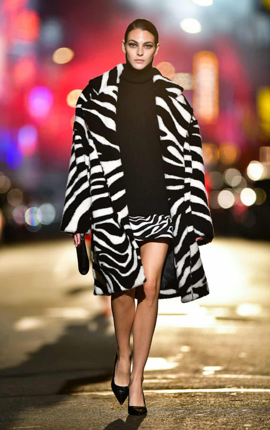 Model Vittoria Ceretti walks along 46th Street during the Michael Kors show in Times Square, New York, in April 2021.