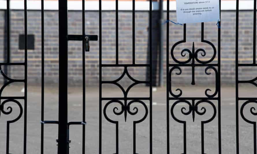 Locked gates at a closed school
