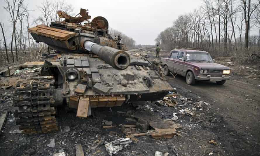 A destroyed tank abandoned near Debaltseve, Ukraine