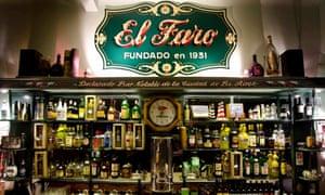 Behind the bar at El Faro, Buenos Aires, Argentina