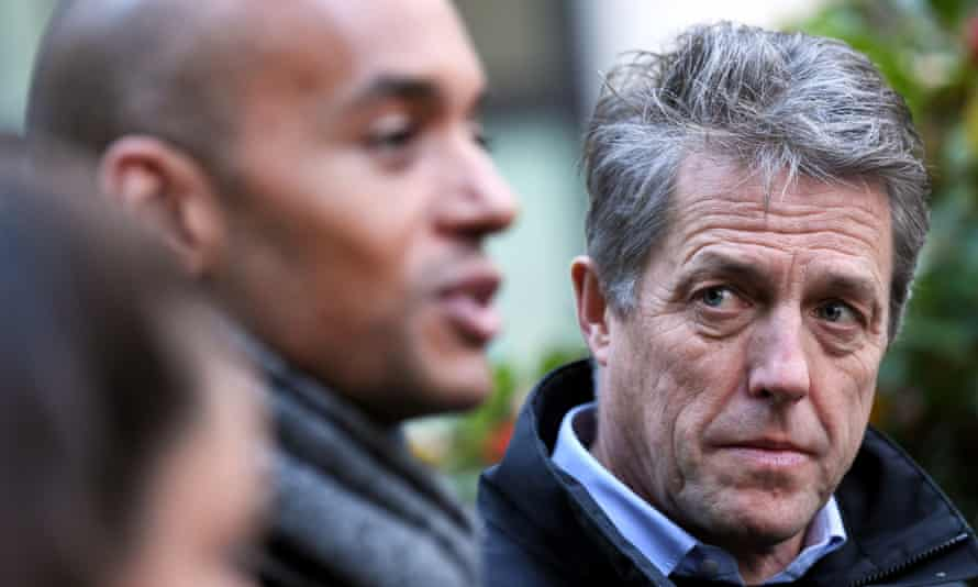 Hugh Grant (right) with Chuka Umunna campaigning in Westminster