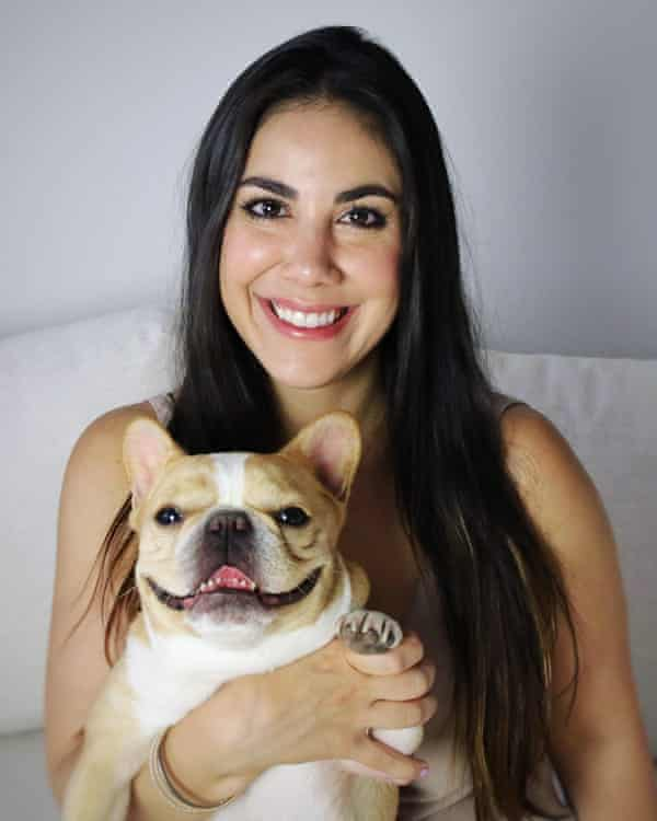 Chloe the miniature French bulldog with her owner, Loni Edwards.