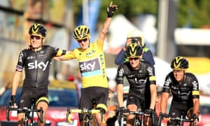 Froome crosses the finish line with teammates.