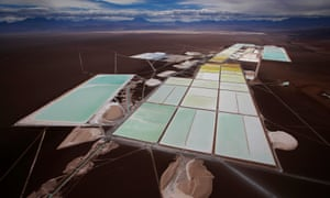An aerial view of the brine pools and processing areas of the Rockwood lithium plant on the Atacama salt flat