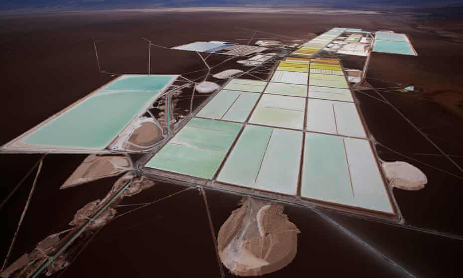 Brine pools and processing areas of the Rockwood lithium plant on the Atacama salt flat, Chile.