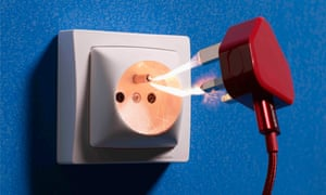 A picture of a UK plug and a European socket, with sparks between them