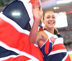 Jessica Ennis-Hill waves to the spectators after winning.