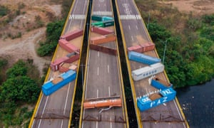 Tthe Tienditas bridge, which links Venezuela and Colombia, was blocked off with containers earlier this month.