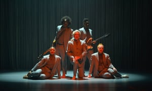 'Works best when the precision of the staging chafes against visceral, urgent music' ... Byrne and co at Oxford New Theatre.