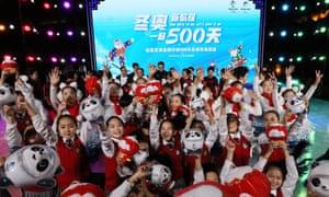 Children in Beijing mark the 500-day countdown to the start of the Beijing Winter Olympics in 2022.