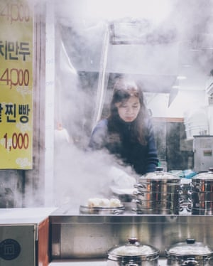 Dish out the dumplings. Street food in Korea is cheap, fast and delicious, and available around the clock: everything from spicy rice cakes to savoury pancakes. The most popular street snack is mandu (dumplings) and this stall in Seoul's Hongdae district is always busy. • Follow Ken on Instagram •   Follow Guardian Travel on Instagram, use the tag #guardiantravelsnaps