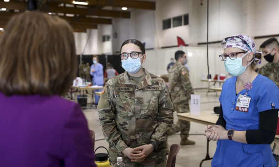 A vaccination clinic in Salem, Oregon in January. Governor Brown said the first group of 500 guard members will be deployed next Friday.