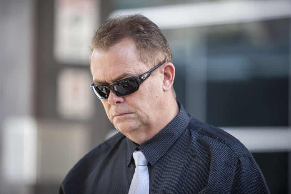 Queensland Police Senior Constable Neil Punchard leaves the Magistrates Court in Brisbane, Monday, October 14, 2019.