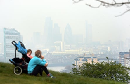 Dust particles and pollution from cars hangs over London, seen from Greenwich.