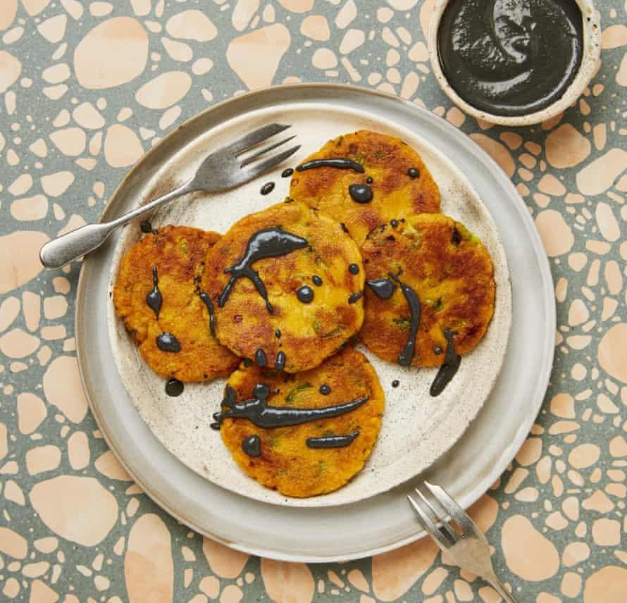 Meera Sodha's savoury sweet potato mochi with black sesame sauce.