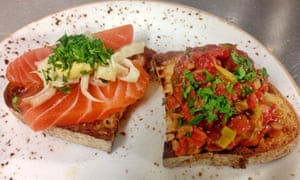 Close-up image of salmon on bread and vegetables on bread at Geralds Bar, San Sebastian, Spain