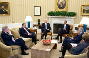 28 December: 'After returning early from his Christmas vacation, the president and the vice-president meet in the Oval Office with the leadership of Congress to discuss the fiscal cliff'