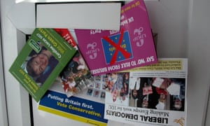 Election leaflets from 2004 sticking through a letterbox