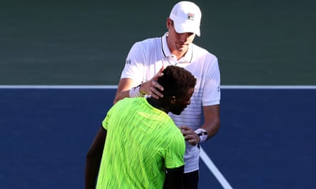 John Isner and Frances Tiafoe were involved in a tough match on Monday