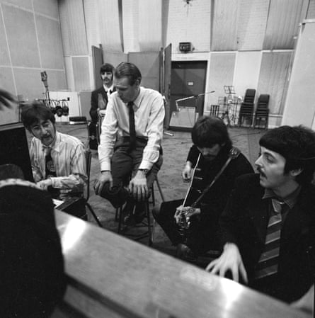 The Beatles with producer George Martin at Abbey Road Studios, London, 1967.