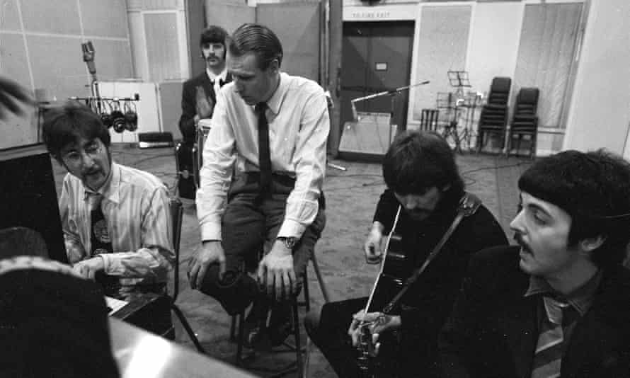 With George Martin at Abbey Road studios.