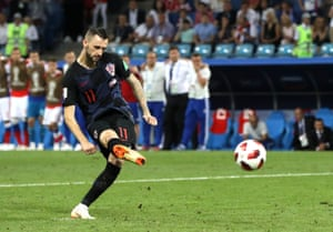 Marcelo Brozovic of Croatia scores his team's first penalty.
