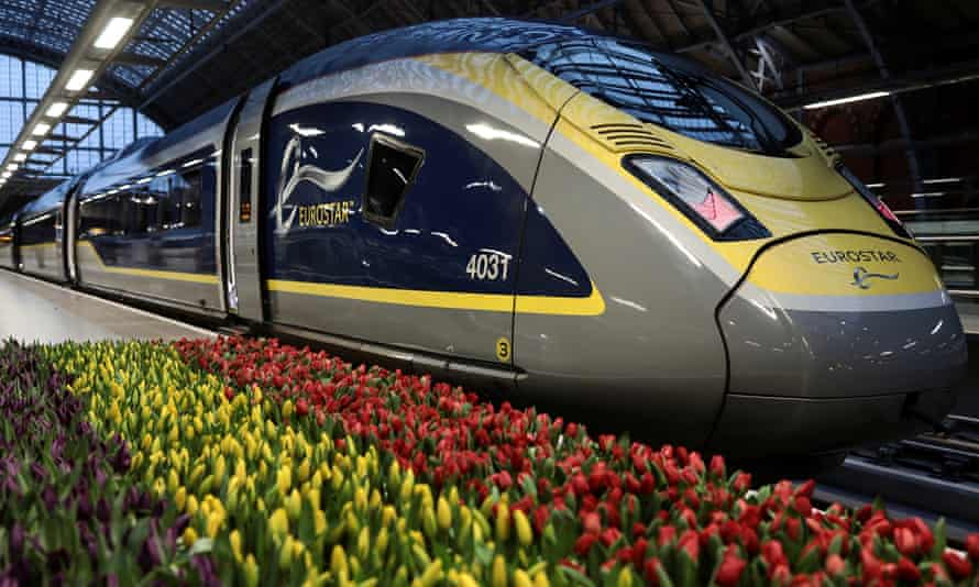 A Eurostar train at St Pancras station in London