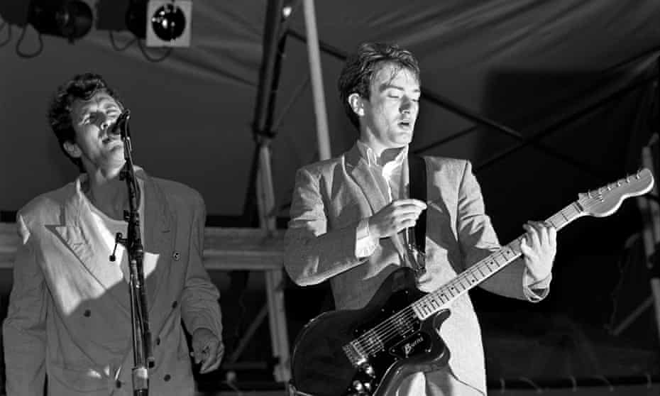 Andy Gill, right, and singer Jon King of Gang of Four play the Pier at New York in 1982.